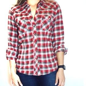 Theory Western Style Red Plaid Cotton LS Shirt